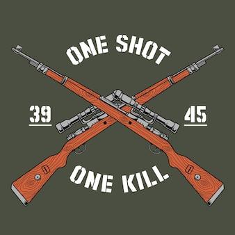 Ilustração militar projeta um rifle carbiner 98 e um logotipo de um tiro um para matar
