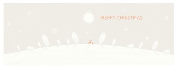 Ilustração mínima de fundo de inverno. montanha de neve com pinheiro com querida.