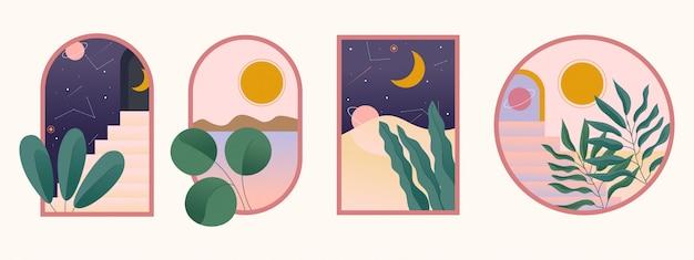 Ilustração mínima em vários quadros com escadas, arcos, plantas e outros objetos.