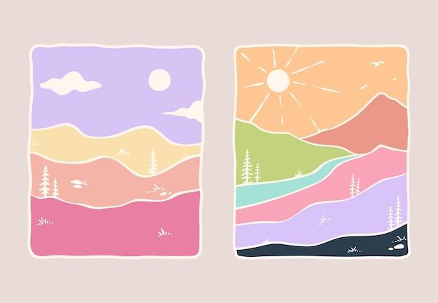 Ilustração minimalista da natureza com cores suaves
