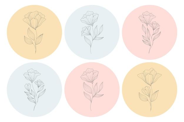 Ilustração minimalista de flores em estilo de linha de arte