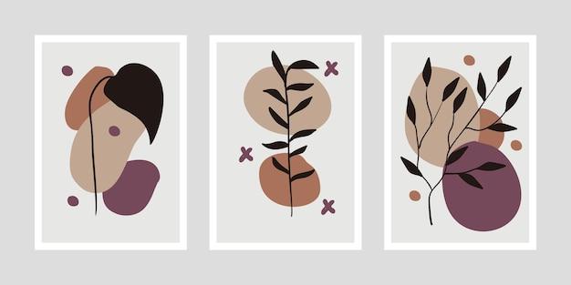 Ilustração minimalista do conjunto de arte botânica Vetor Premium