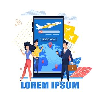 Ilustração mobile application tickets online