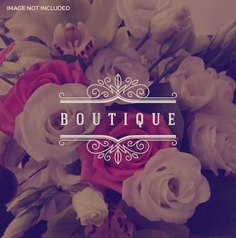 Ilustração - modelo de logotipo boutique com moldura elegante ornamento caligráfico de floreios.