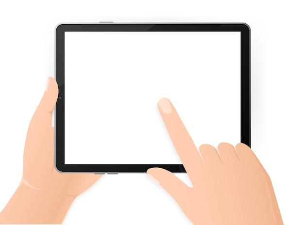 Ilustração moderna com tablet vazio preto mãos sobre fundo branco. tecnologia digital. ilustração moderna. rede .