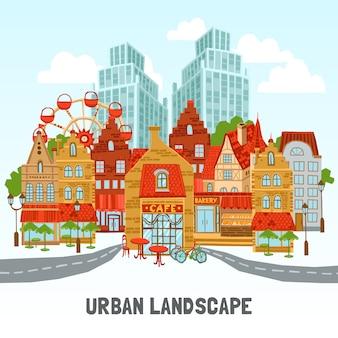 Ilustração moderna da cidade