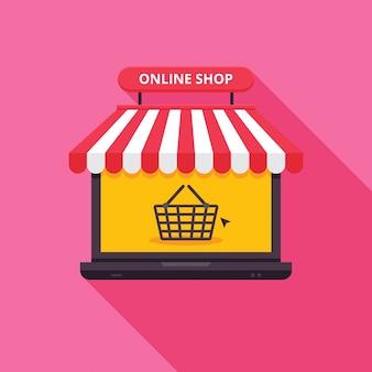 Ilustração moderna da tecnologia de compras on-line