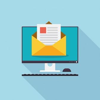 Ilustração moderna da tecnologia de marketing por e-mail