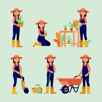 Ilustração moderna de atividades de jardinagem de mulheres agricultoras