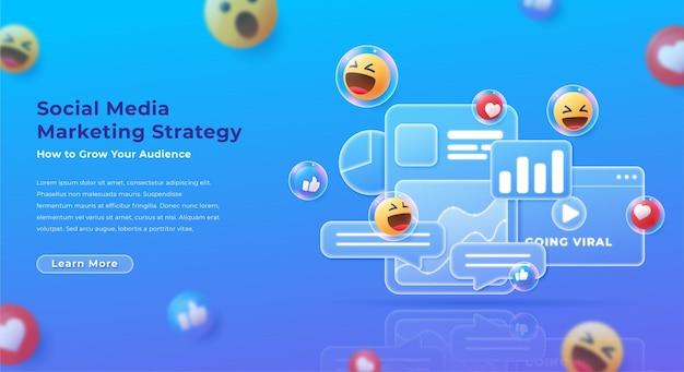 Ilustração moderna de marketing de mídia social