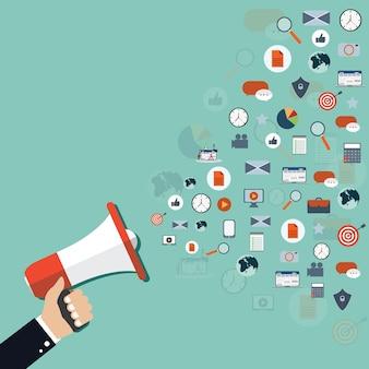 Ilustração moderna de megafone e ícones diferentes para marketing digital