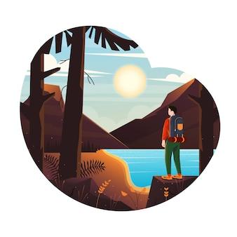 Ilustração moderna de paisagem montanhosa