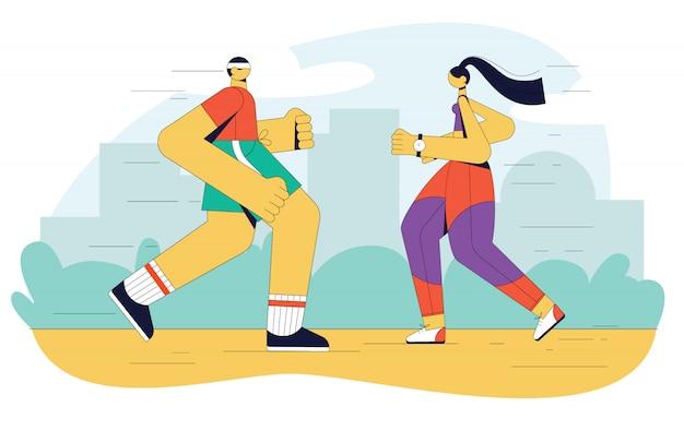 Ilustração moderna de pessoas correndo no parque. um garoto e uma garota estão fazendo exercícios aeróbicos