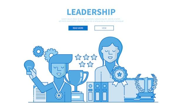 Ilustração moderna design plano de liderança e trabalho em equipe