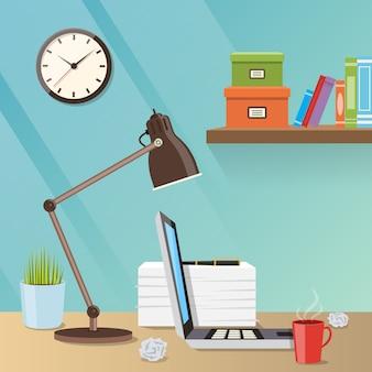 Ilustração moderna do espaço de trabalho criativo com mesa de trabalho, uma lâmpada e laptop