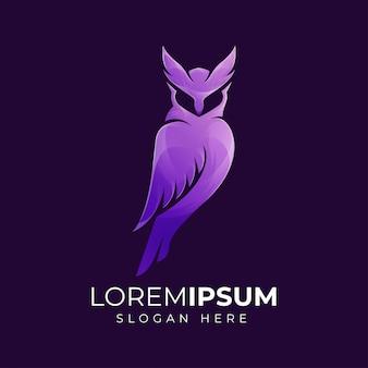 Ilustração moderna do logotipo da coruja roxa premium