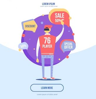 Ilustração moderna do vetor do projeto liso, conceito do mercado do internet.