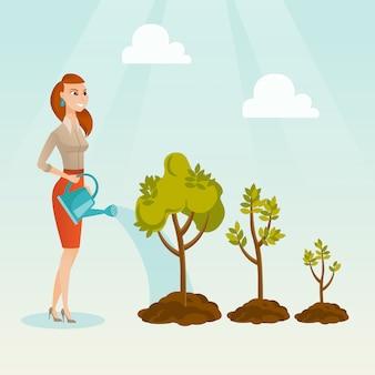 Ilustração molhando do vetor das árvores da mulher de negócio.