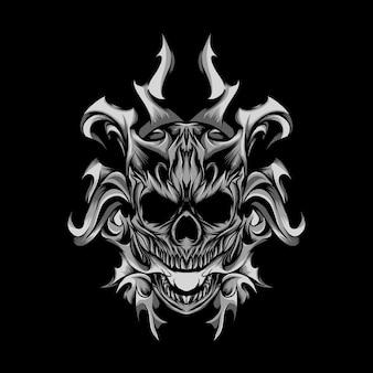 Ilustração monocromática da cabeça do crânio em chamas