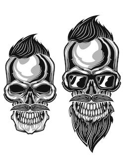 Ilustração monocromática de caveiras hipster com bigodes, barba e cortes de cabelo isolados no branco