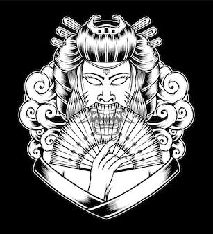 Ilustração monocromática de gueixa. vetor premium