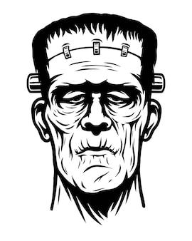 Ilustração monocromática de monstro, cabeça de zumbi