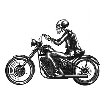 Ilustração monocromática do motociclista de esqueleto em uma motocicleta isolada no branco.