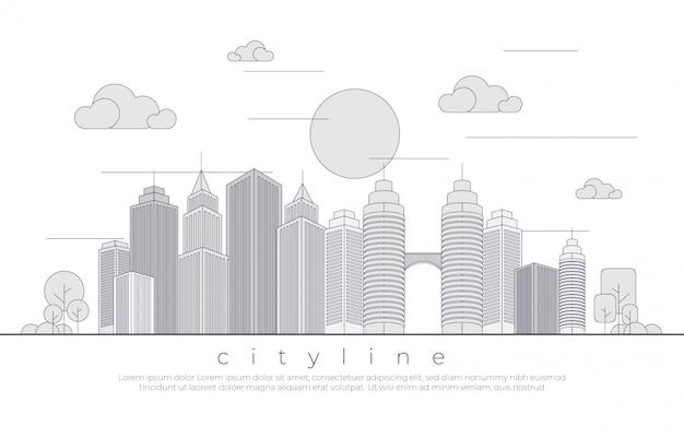 Ilustração monocromática paisagem urbana