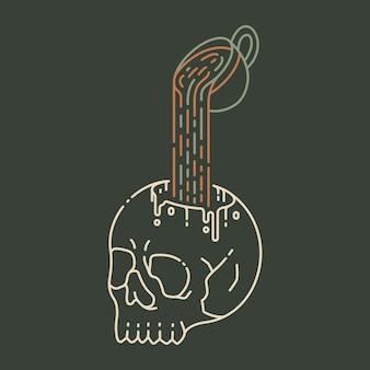 Ilustração monoline coffee till death 2