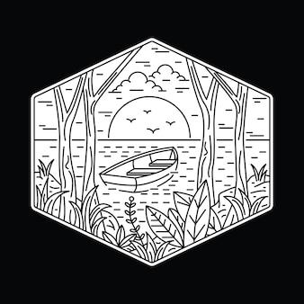 Ilustração monoline de aventura de acampamento na natureza