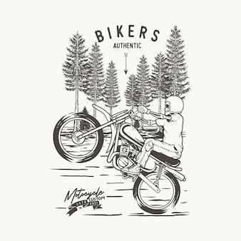 Ilustração moto acrobática na floresta