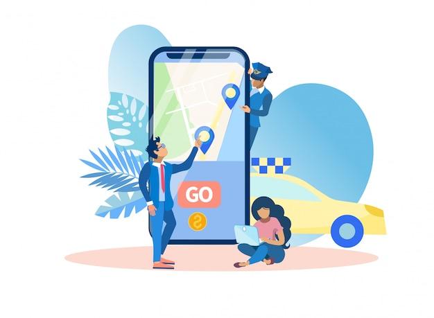 Ilustração móvel do vetor do táxi da chamada da aplicação.