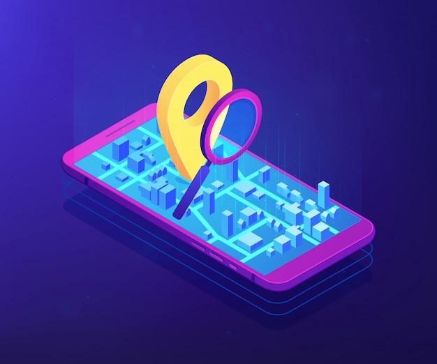 Ilustração móvel isométrica suave conceito 3d de rastreamento.