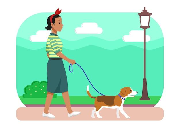 Ilustração mulher caminhando com seu cachorro