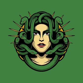 Ilustração mulher cobra cabeça medusa