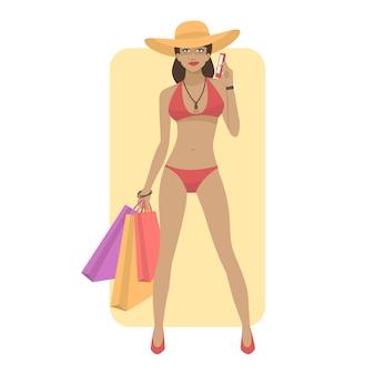 Ilustração, mulher em traje de banho segura telefone e bolsas, formato eps 10