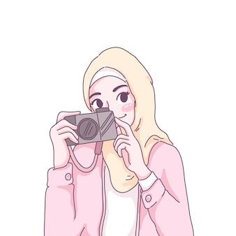 Ilustração mulher fotógrafa