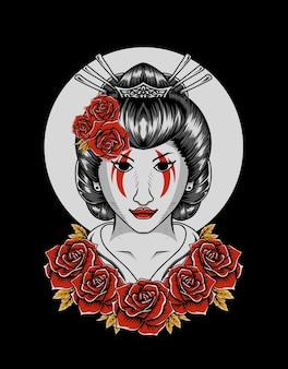 Ilustração mulher gueixa com flor rosa