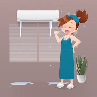 Ilustração mulher sem sono por causa do ar condicionado quebrado à noite, uma garota de camisola verde que sofre com o calor no quarto.