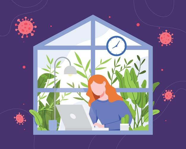 Ilustração mulher trabalhando em casa