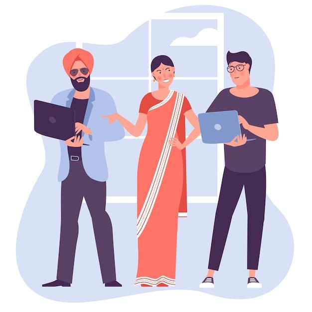 Ilustração multicultural do trabalho em equipe