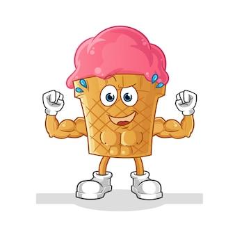 Ilustração muscular dos desenhos animados de sorvete