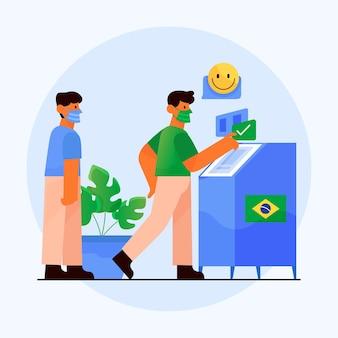 Ilustração na fila de votação do povo brasileiro com máscara facial