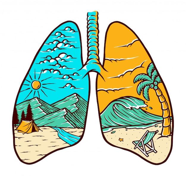Ilustração natural do pulmão
