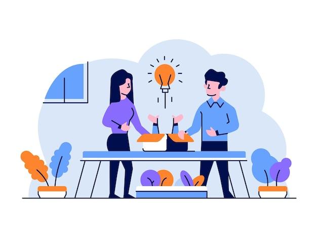 Ilustração negócios finanças homem mulher discussão