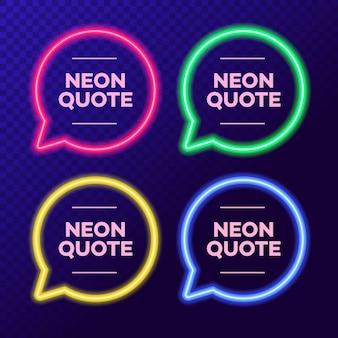 Ilustração neon citação bolha quadro definido em fundo transparente para o mercado