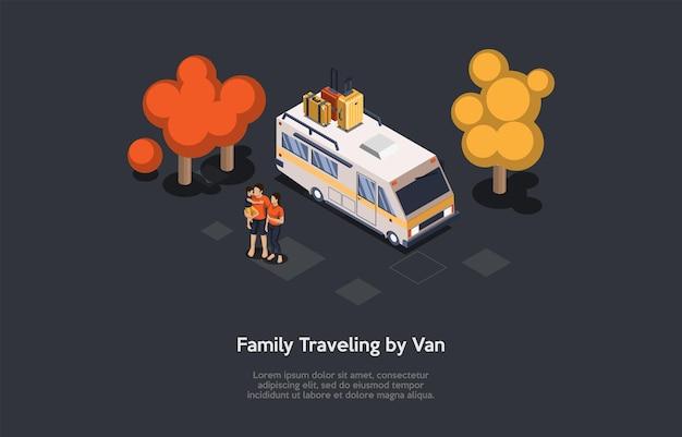 Ilustração no estilo dos desenhos animados 3d, composição isométrica com objetos e personagens. família viajando de van. infográficos. grupo de pessoas, caminhão de tour com bagagem, floresta circundante. aluguel de vagões.