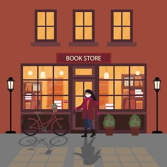 Ilustração no estilo flat cartoon. mulher usando máscara branca e luvas, entrando na livraria à noite.