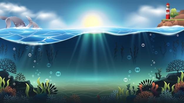 Ilustração no fundo do mar