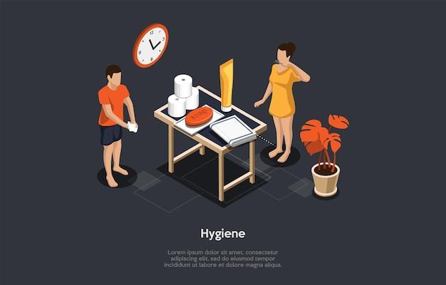 Ilustração no fundo escuro. composição vetorial, estilo de desenho animado 3d, objetos e personagens isométricos. projeto no conceito de higiene e limpeza pessoal. pessoas lavando as mãos e escovando os dentes.